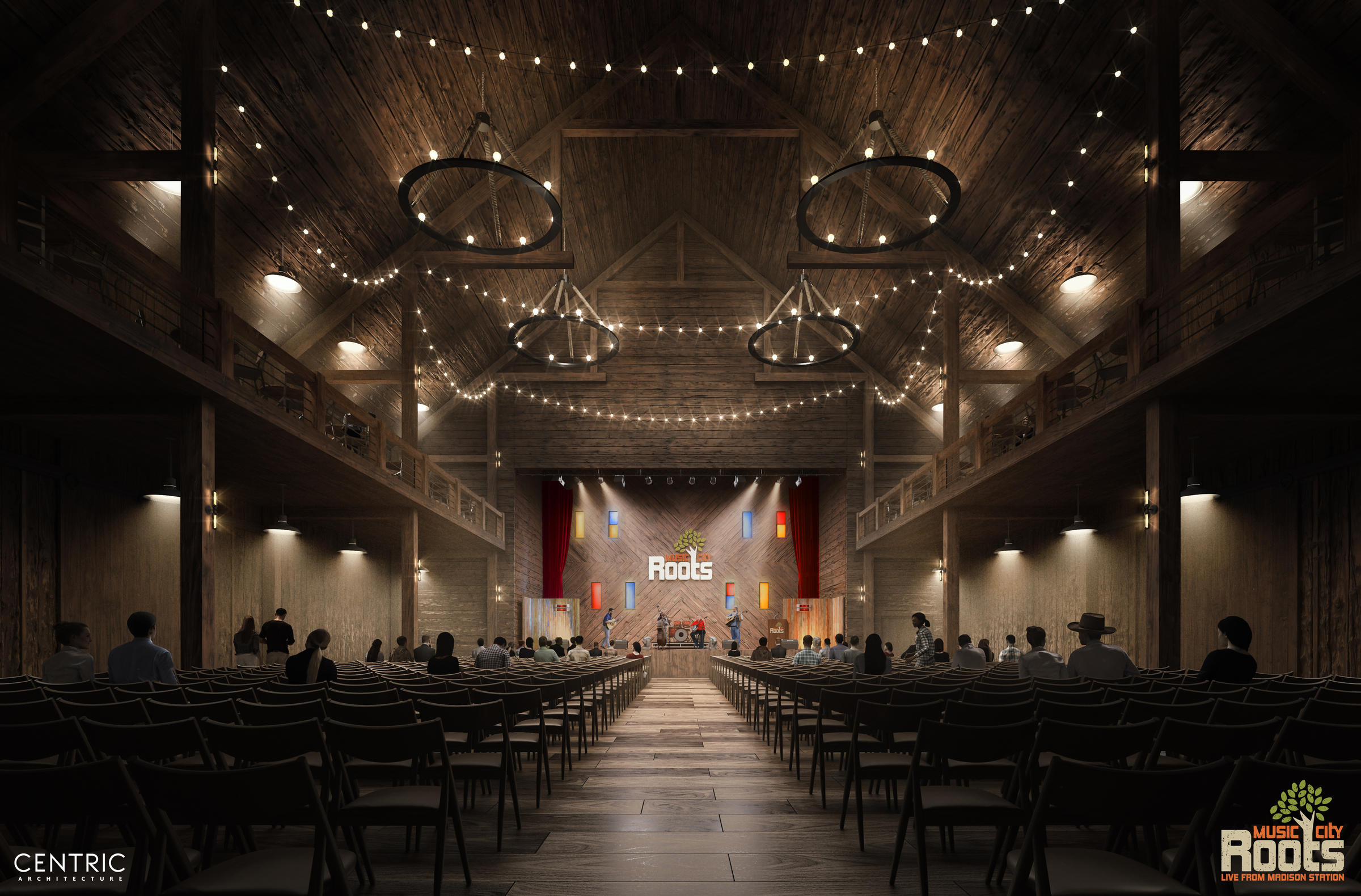 The inside of the new Music City Roots venue, The Roots Barn.
