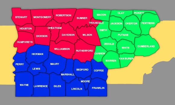 Counties NowPlayingNashvillecom - Map of tn counties
