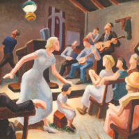 """Thomas Hart Benton, Lord Heal the Child, Oil on canvas, 12"""" x 17"""" 