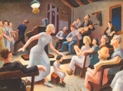 """Thomas Hart Benton, Lord Heal the Child, Oil on canvas, 12"""" x 17""""   Hainsworth Collection at Hutchson Gallery"""
