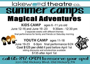 Youth Camp | Lakewood Theatre | June 19 - 23