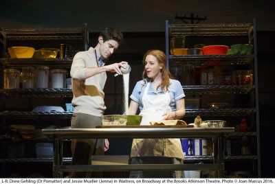 Drew Gehling (Dr. Pomatter) and Jessie Mueller (Jenna) in Waitress on Broadway at the Brooks Atkinson Theatre. Photo by Joan Marcus, 2016