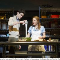 Drew Gehling (Dr. Pomatter) and Jessie Mueller (Jenna) in Waitress on Broadway at the Brooks Atkinson Theatre. Photo by Joan Marcus, 2016.