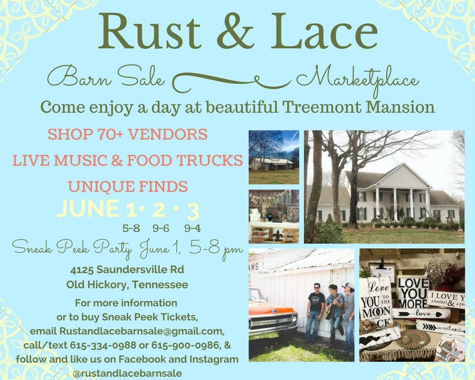 rust lace barn sale marketplace presented by treemont mansion nowplayingnashvillecom