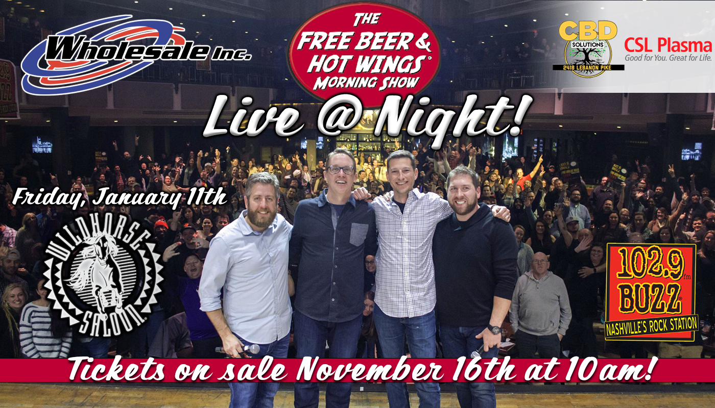 free beer and hot wings live at night 2018