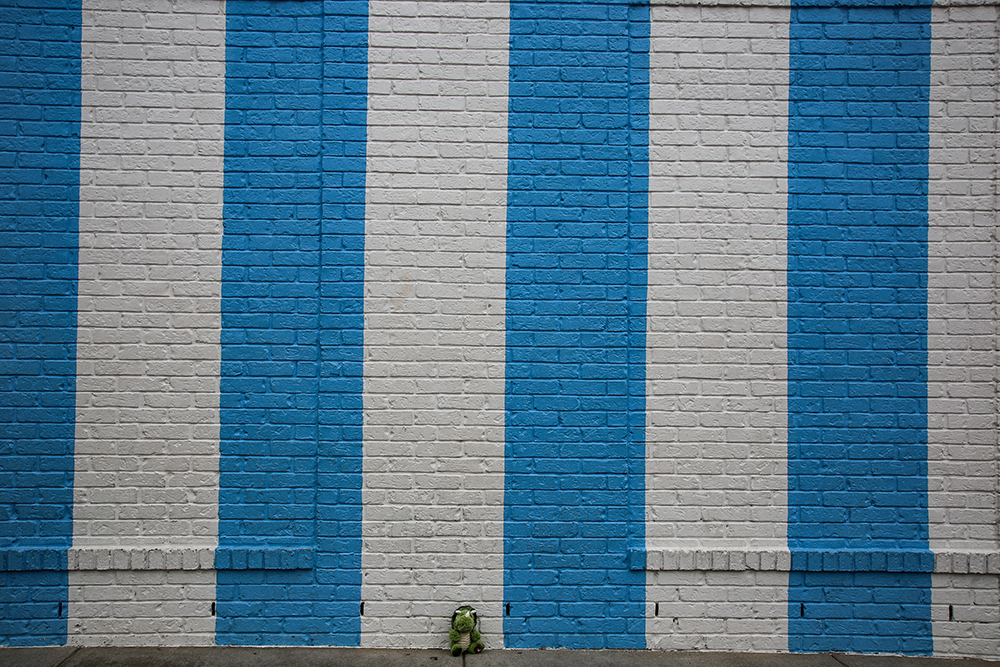 Draper James Blue and White Stripes Mural