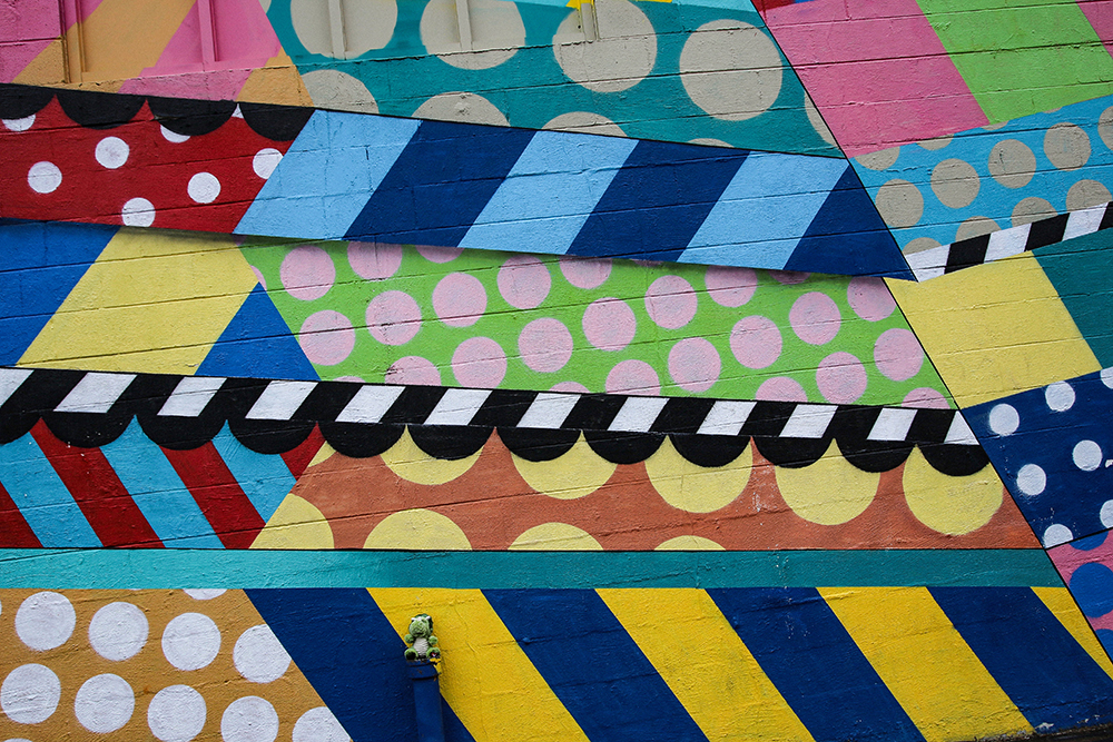 Colorful Polka Dots + Stripes Mural