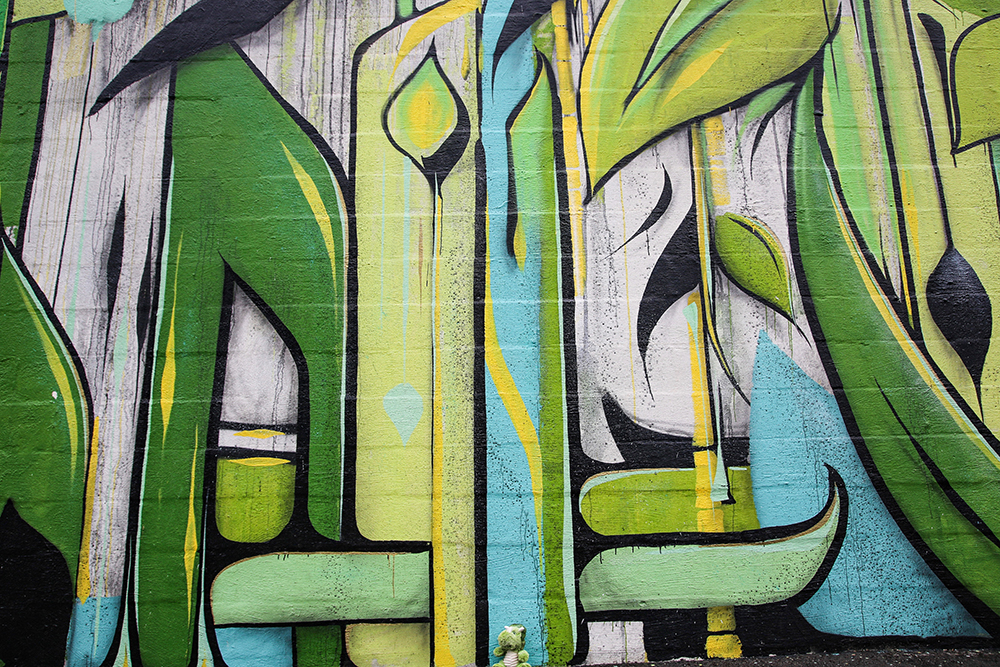 Green and Teal Abstract Mural