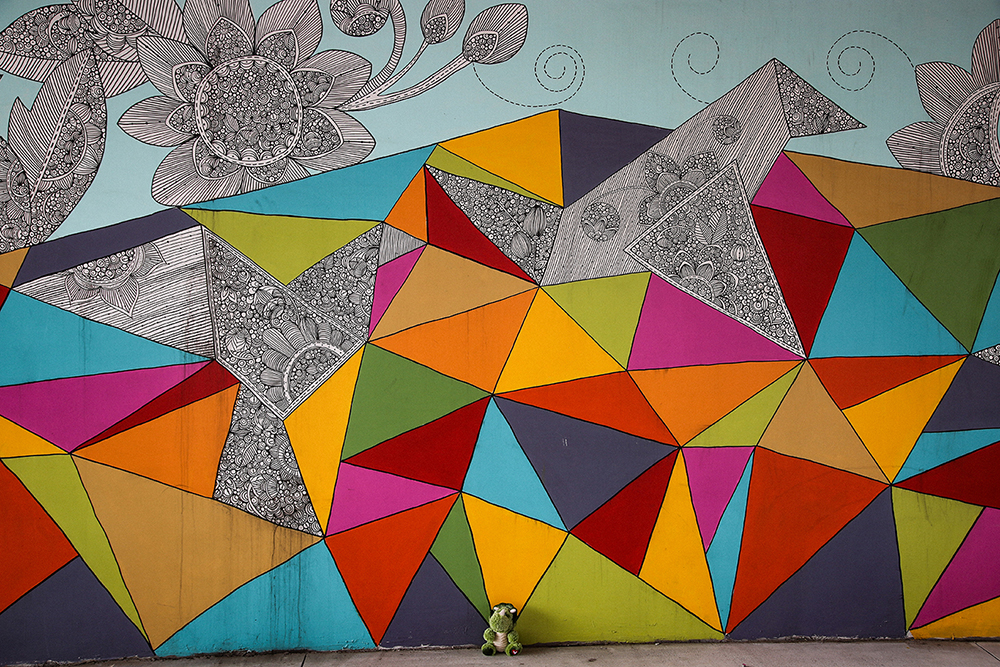 Sketch Colorful Polygons Mural