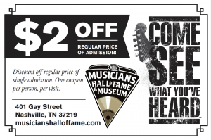 Musicians Hall of Fame Coupon effective September 2020.