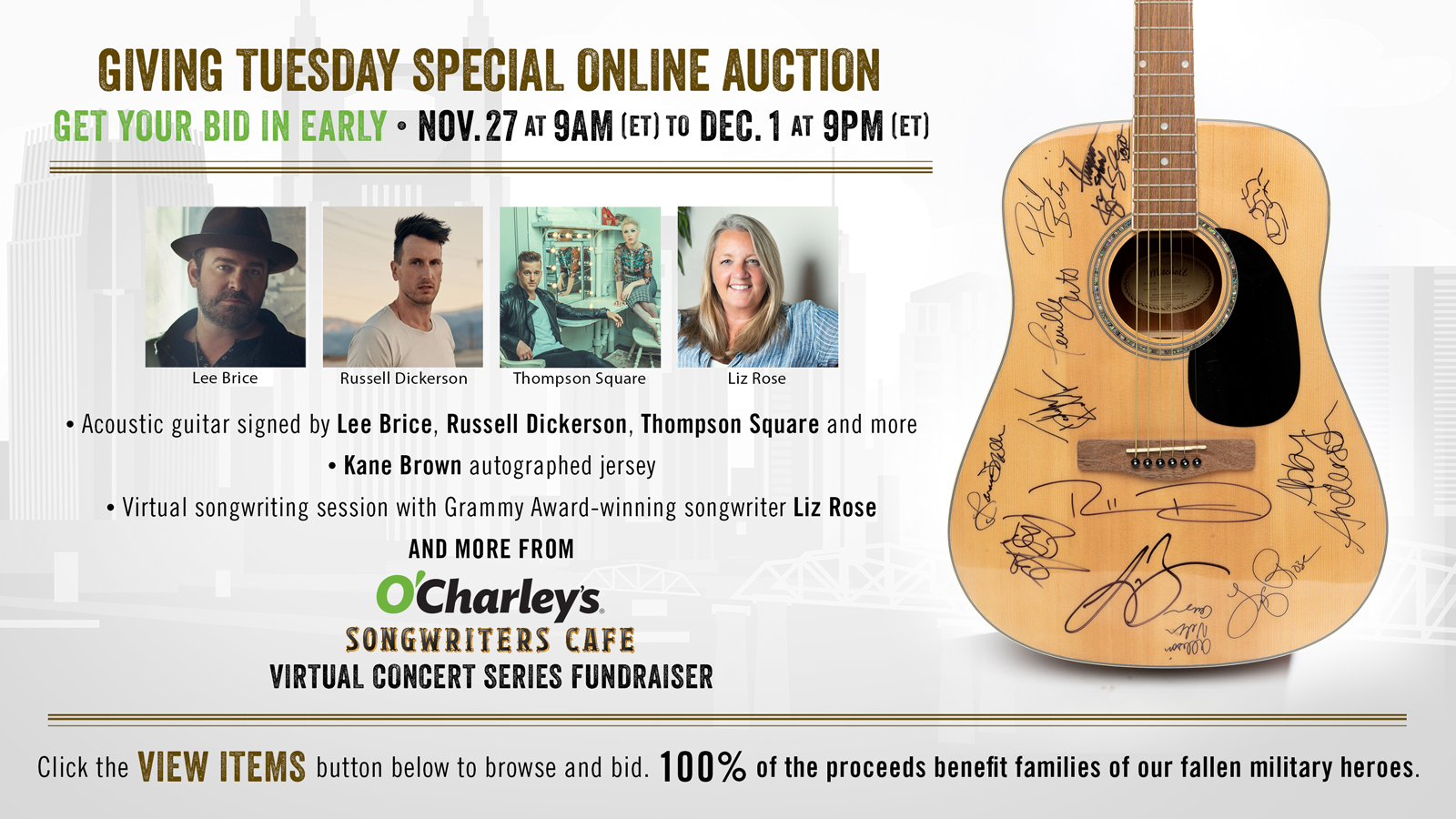 Online Auction Featuring Russell Dickerson, Kane B...