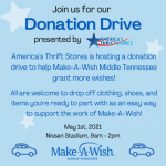 Make-A-Wish Donation Drive hosted by America's Thrift Stores